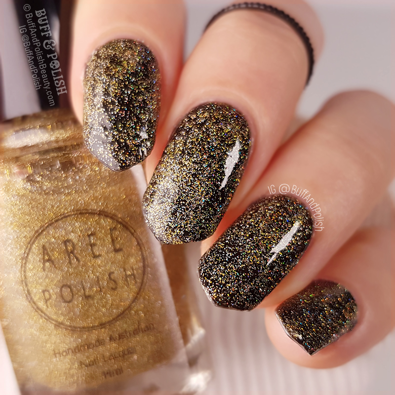 Buff & Polish - Aree Light It Up Topper polish swatch, over black