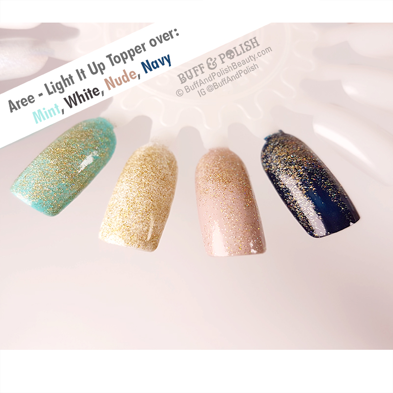 Buff & Polish - Aree Light It Up Topper polish swatch over mint, white, nude & navy