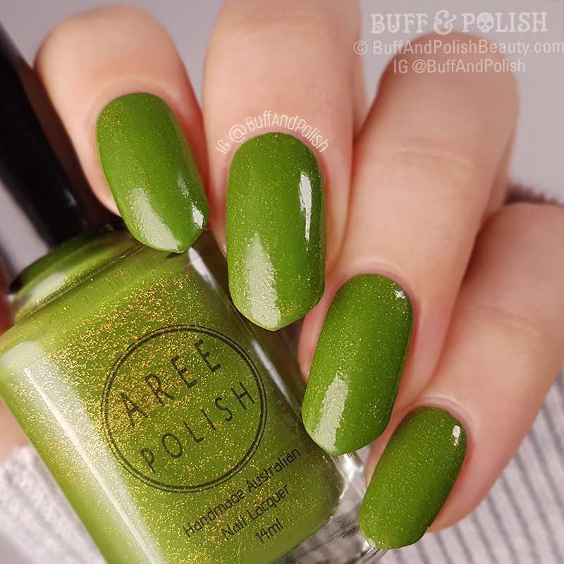 Buff & Polish - Aree Miss Toxic polish swatch & bottle shot