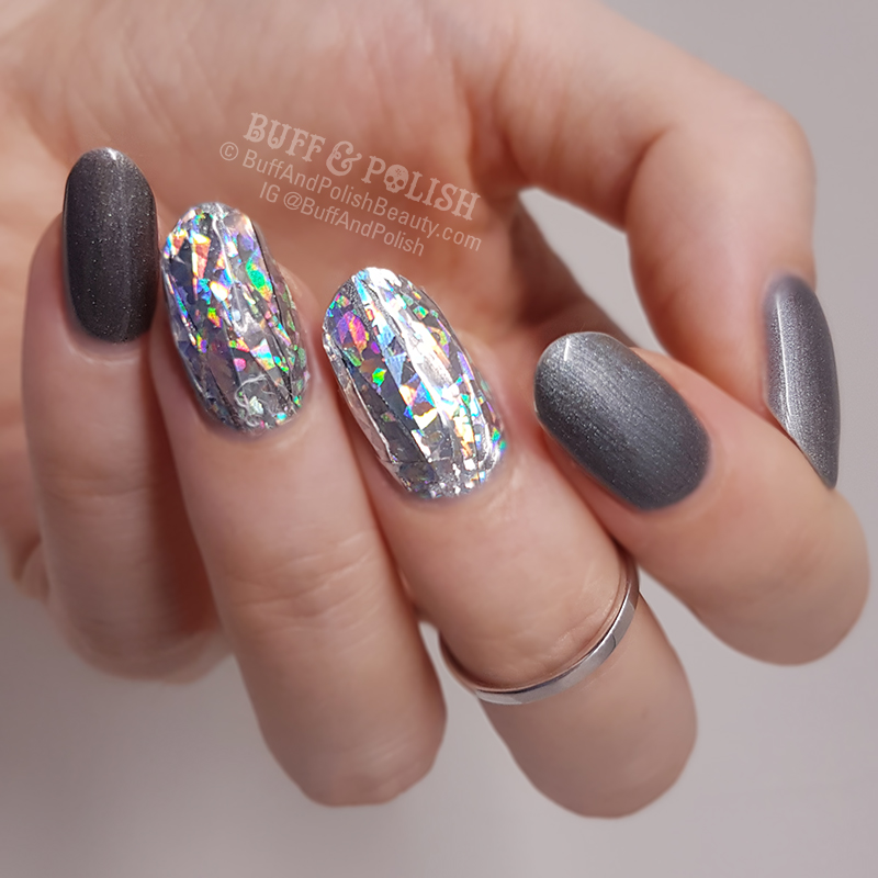 Diamond Nails Holo On Grey Gel Polish Buff Polish