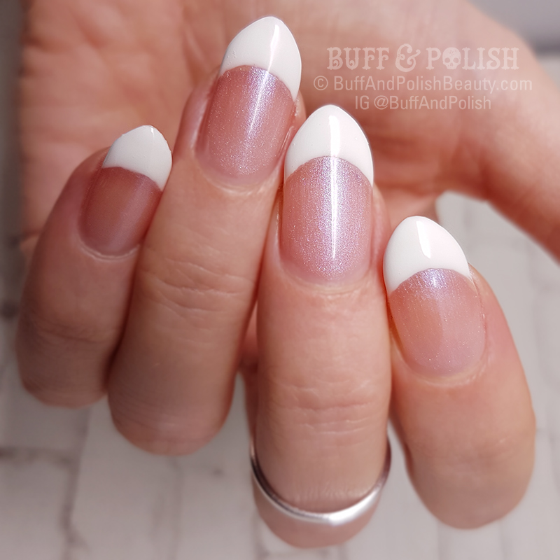 Opallac French Over Gel Swatch & French Manicure – Buff & Polish