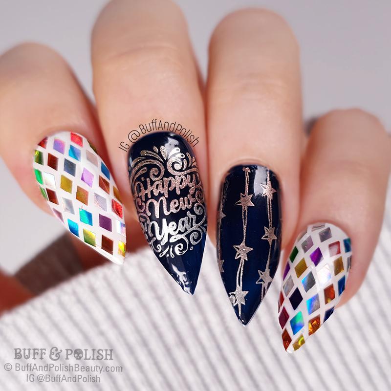 Buff & Polish - NYE Disco Ball Nails