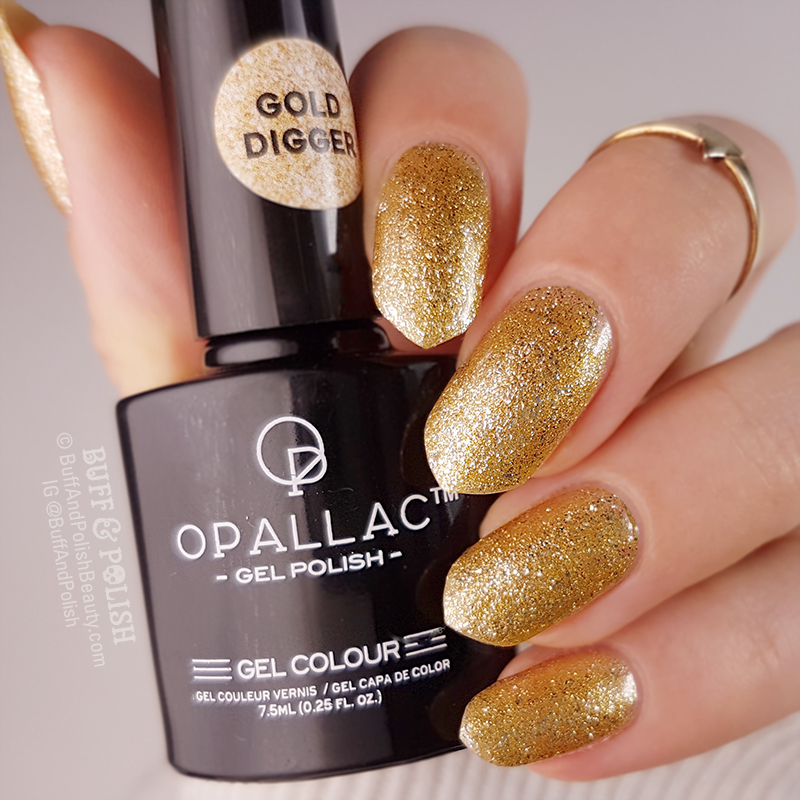 Opallac Gold Digger Glitter Gel Polish swatch, bottle shot in brighter light