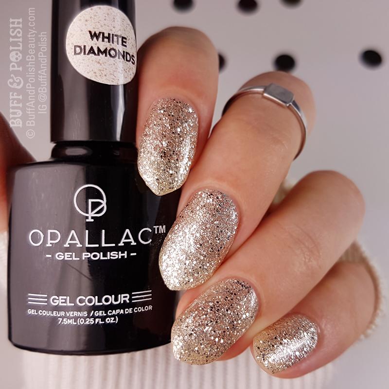 Opallac White Diamonds – Glitter Gel Polish Swatch – Buff & Polish