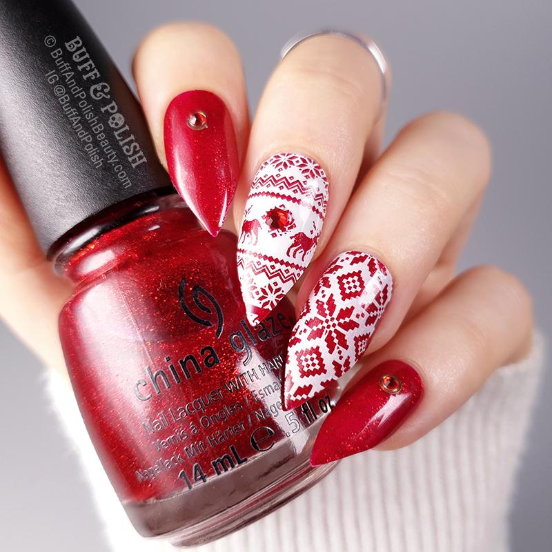 Buff & Polish - Red Ugly Sweater Festive Nails
