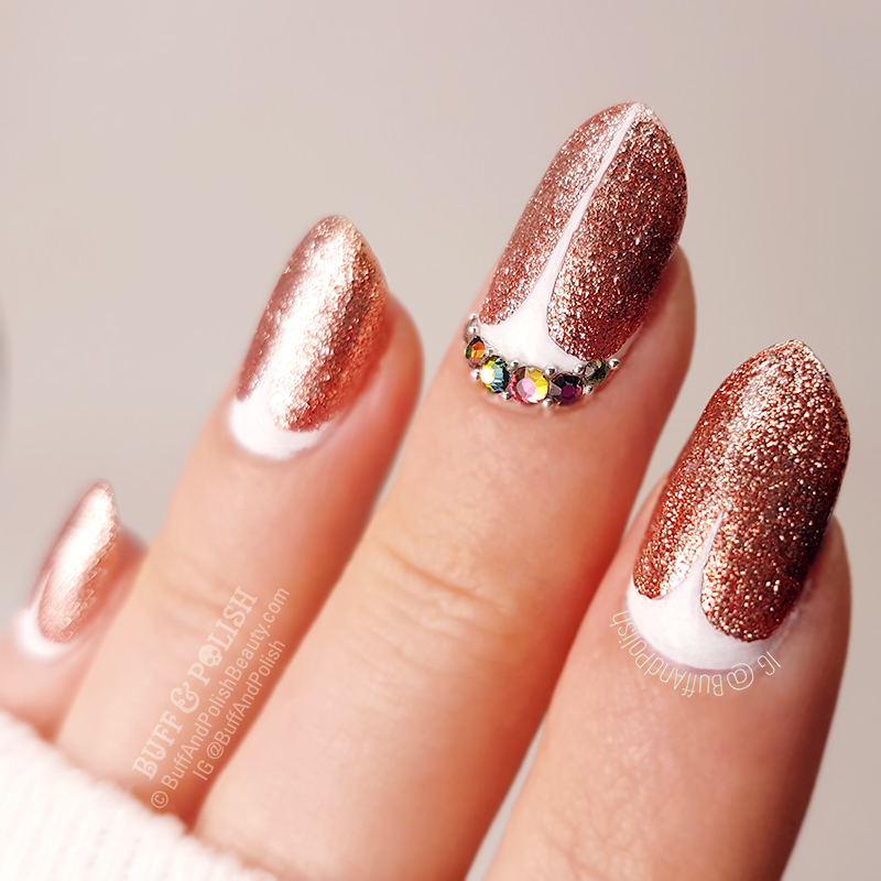Rose Gold Nail Glitter: Rose Gold Glitter Nails With White Stilettos & Bling