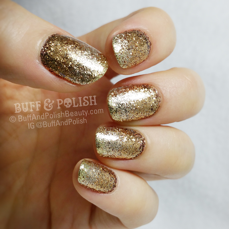 Golden Glitter Gradient New Year Nails – Buff & Polish