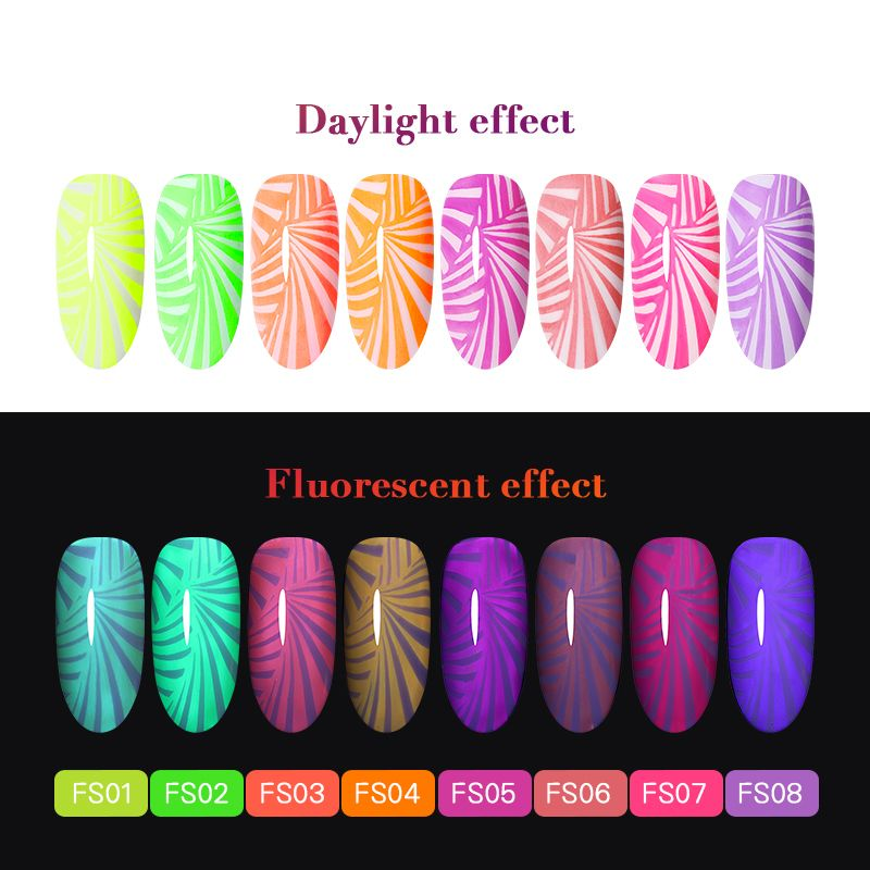 BORN PRETTY 6ml Neon Stamping Polish Fluorescence 8 Colors - BornPrettyStore.com