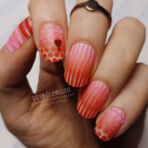 Buff & Polish - Red-&-Pink Matte Stripes & Dots