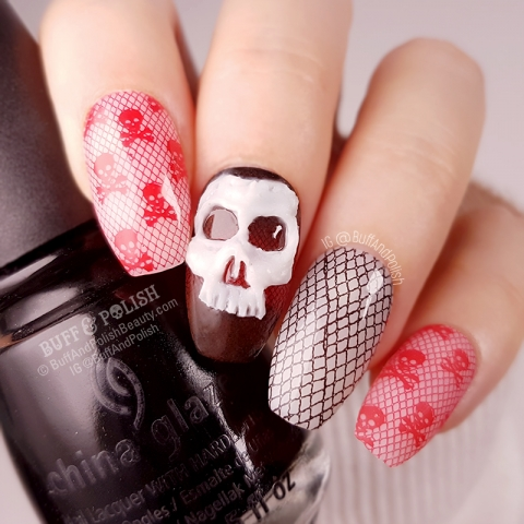 Buff & Polish - 31DC2018 Red - 3D Skulls Red & Black Lace