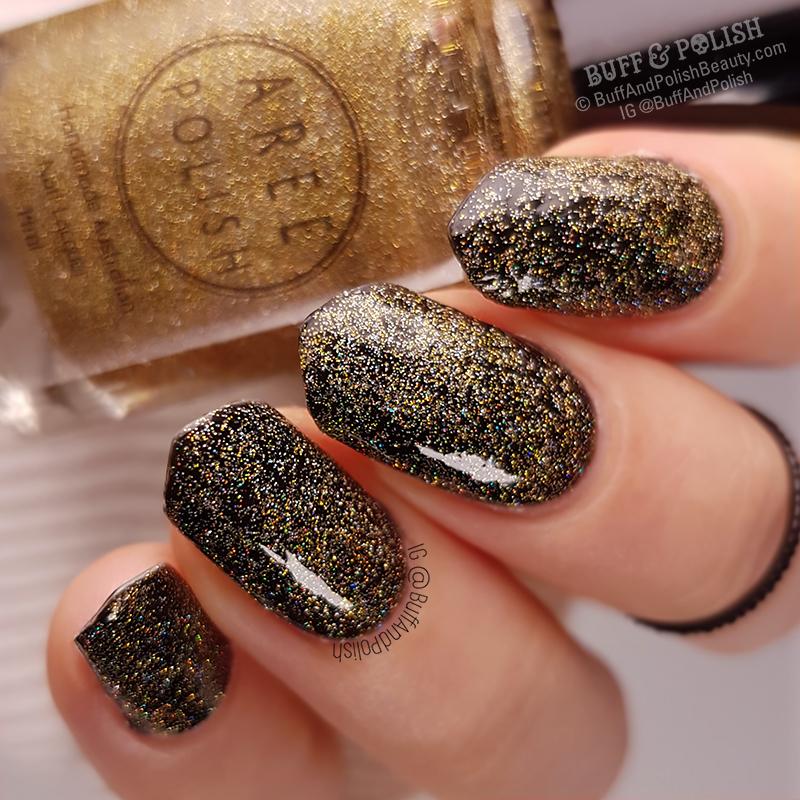 Buff & Polish - Aree Light It Up Topper polish swatch, over black