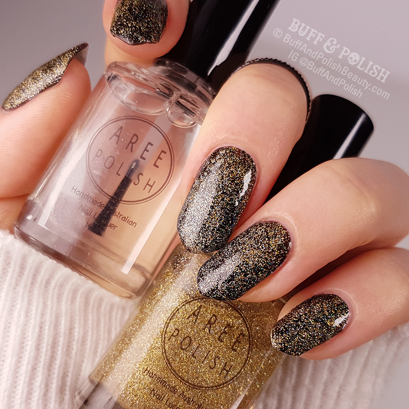 Buff & Polish - Aree Light It Up Topper & Crystal Fusion Top Coat polish swatch, over black