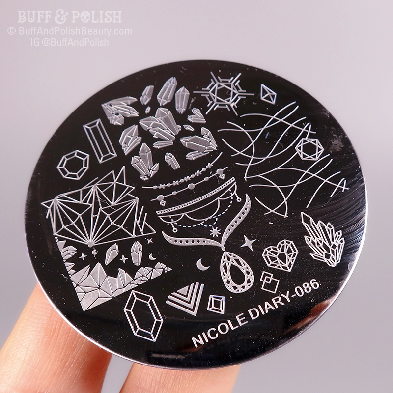 Buff & Polish - Born Pretty Crystals, Nicole Diary Plate 086