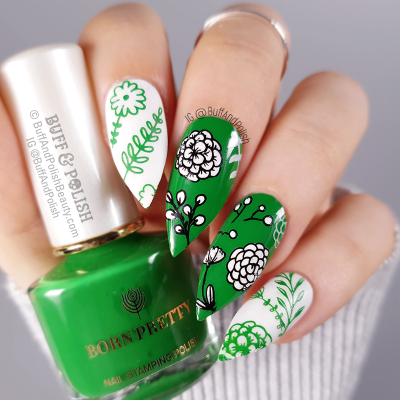 Buff & Polish - Born Pretty Green Stamping Polish Florals nail art
