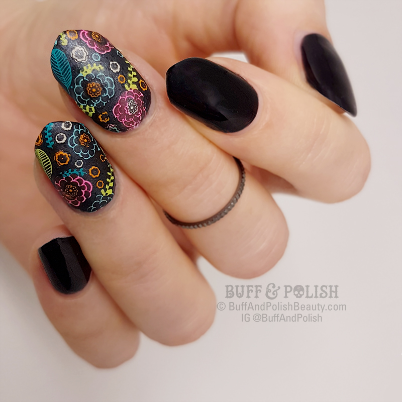 Buff & Polish - Black Gel with Neon Florals Nail Art