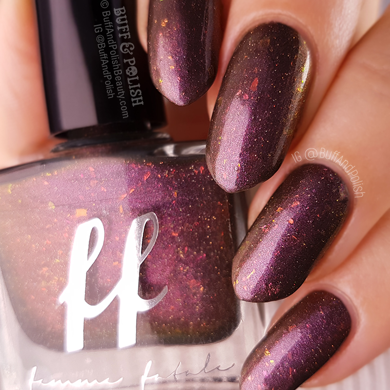 Buff & Polish – Femme Fatale Coniferae swatch close up & bottle shot - COTM July 2018