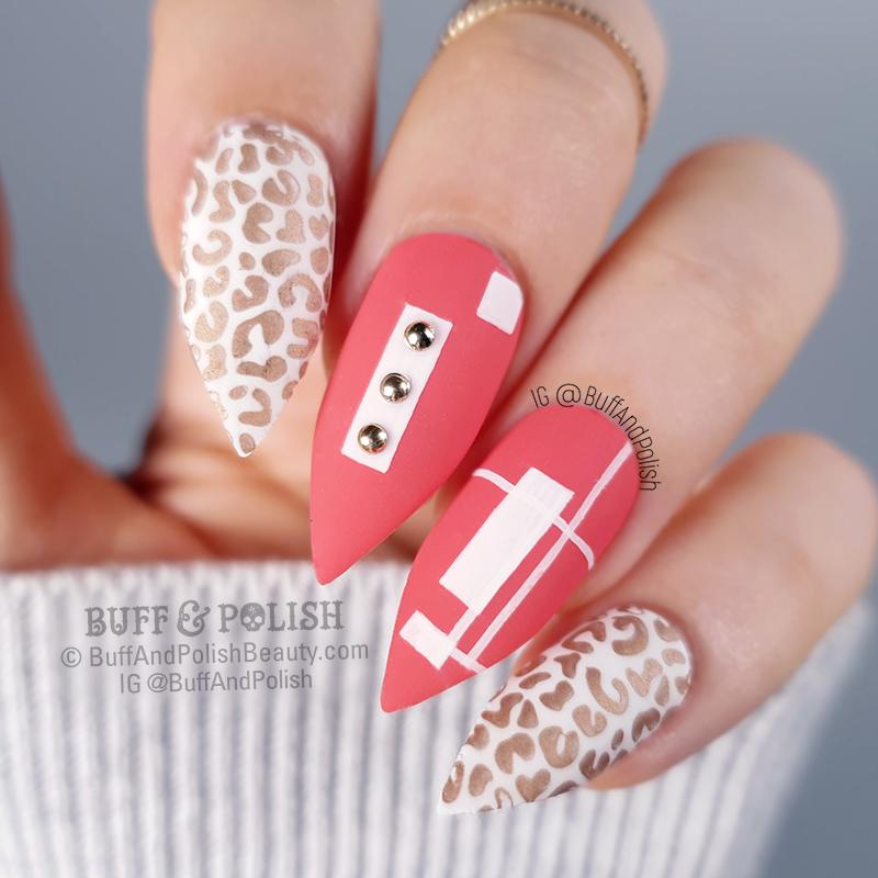 Buff & Polish - Coral Cheetah Geometric with Studs nail art
