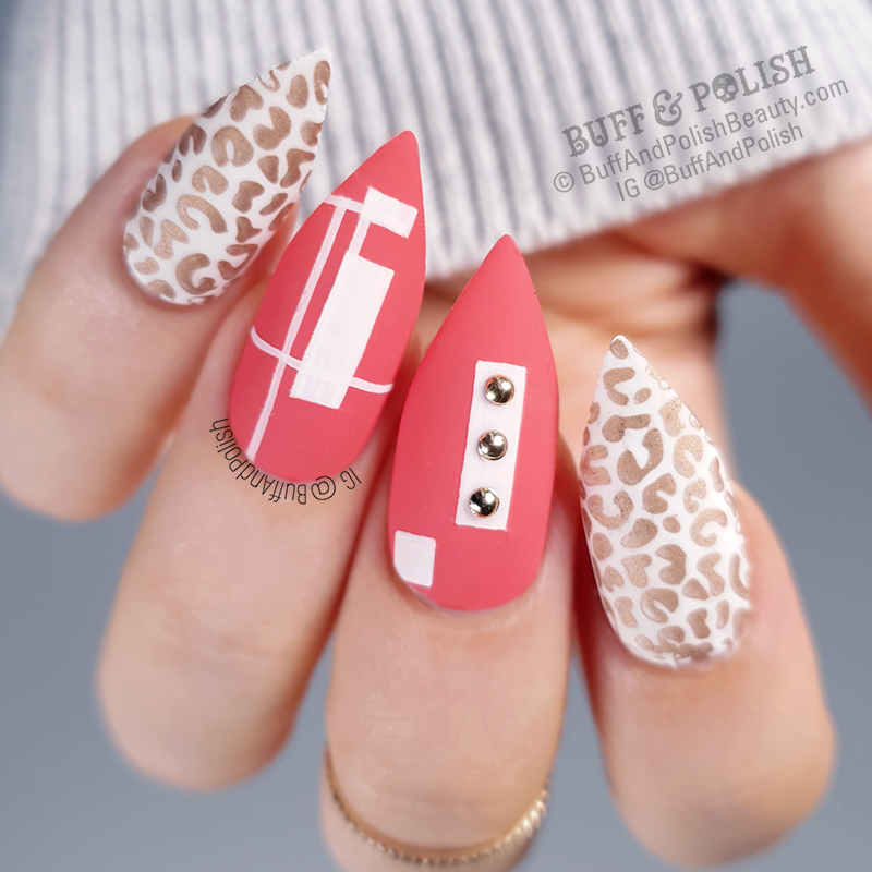 Buff & Polish - Coral Cheetah Geometric with Studs nail art
