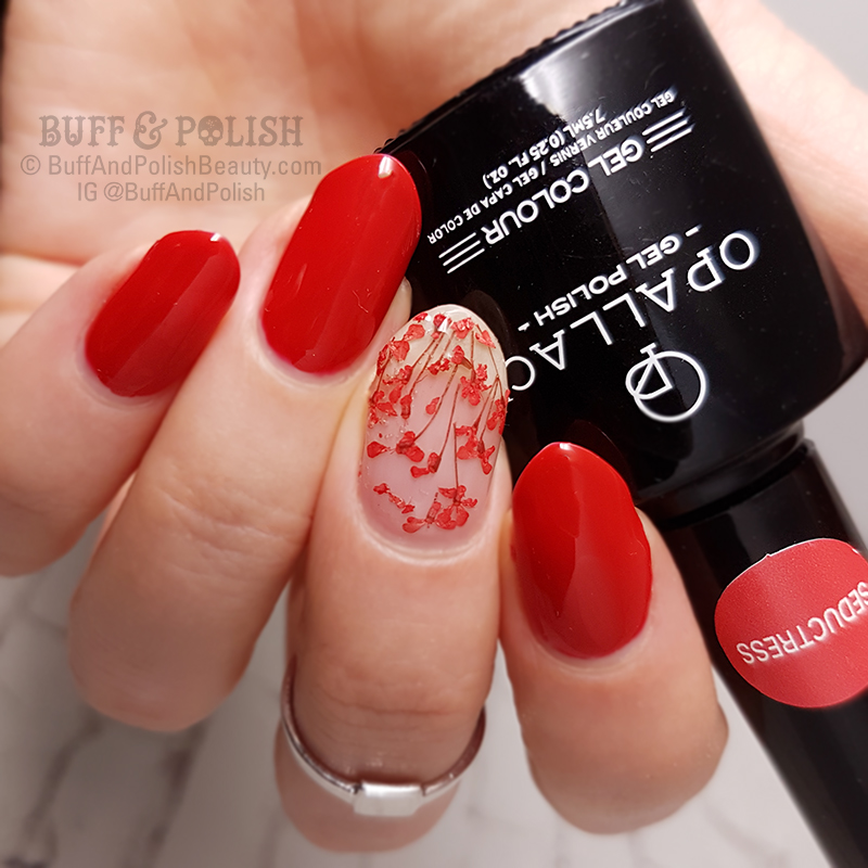 Buff & Polish - 31DC2017 Day 1: Red Gel Encapsulated Flowers