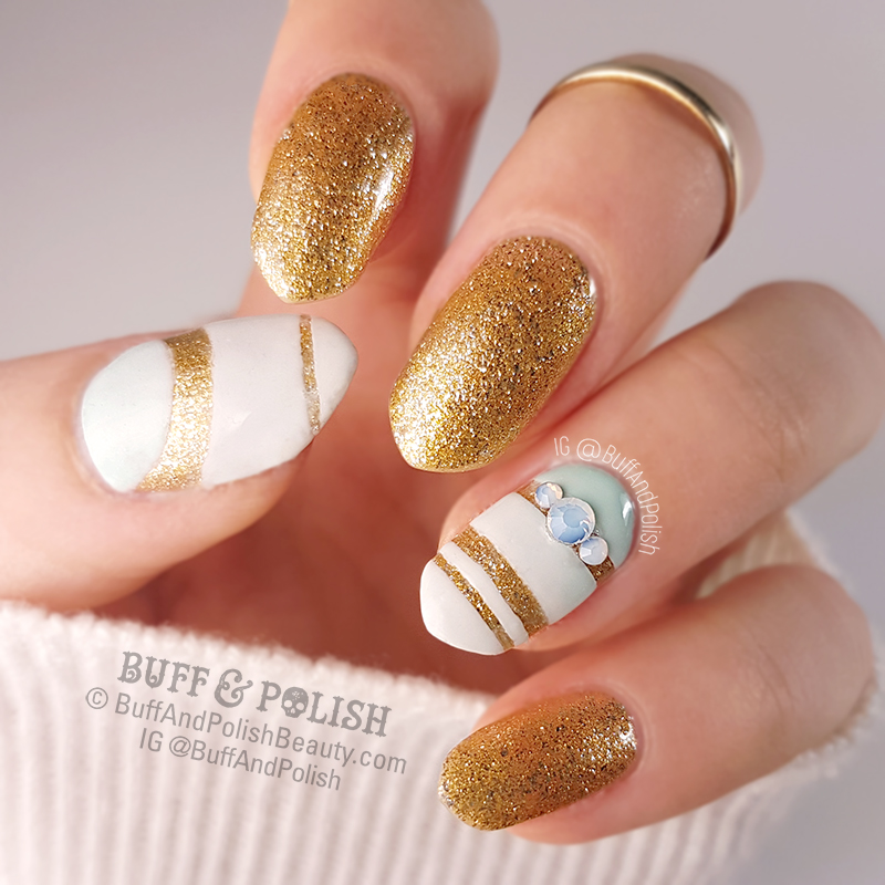 Buff & Polish's Minimal Nail Art on Opallac Gold Digger with mint, white & gold.