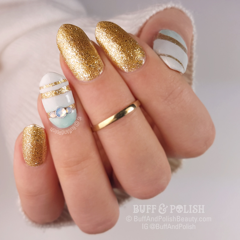 Buff & Polish's Minimal Nail Art on Opallac Gold Digger