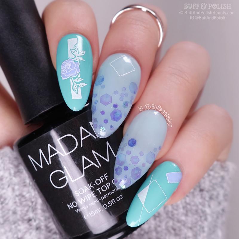 Buff & Polish - Madam Glam Builder Gels with BPS Flower Tango Plate & Glitters