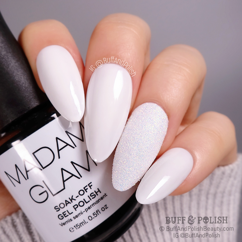 Buff & Polish - Madam Glam Perfect White & Illumination Glitter swatch
