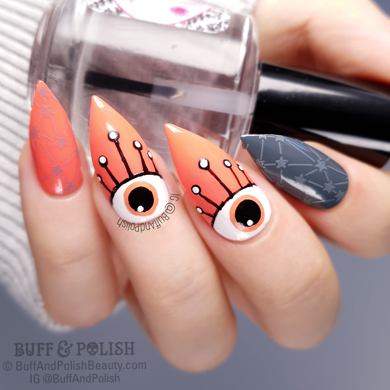 Buff & Polish - MSC Living Coral & Grey Freehand Eyes