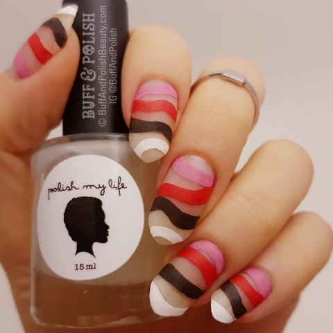 Buff & Polish - Mani Swap Circle – Red, White & Brown Lines w Negative Space