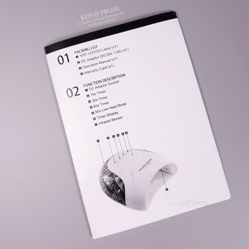 Buff & Polish Review - Madam Glam's 48w Holi UV LED Nail Lamp - Manual Rear