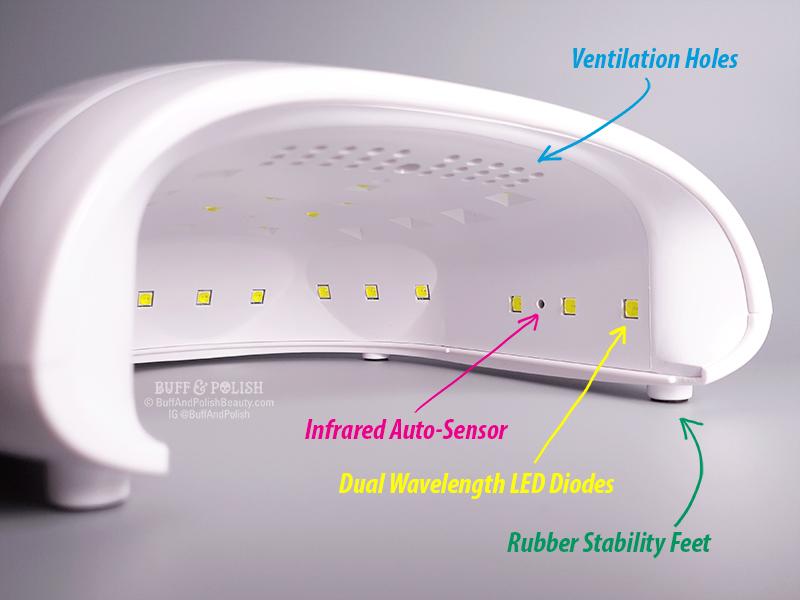 Buff & Polish Review - Madam Glam's 48w Holi UV LED Nail Lamp - Auto Sensor Diagram