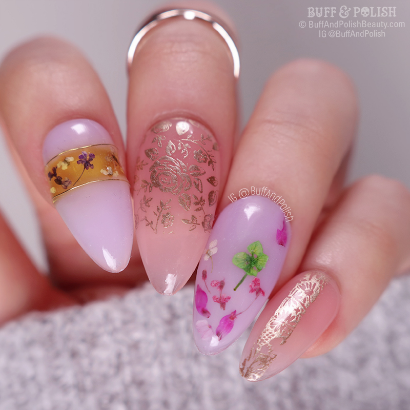 Buff & Polish - Abstract Florals in Madam Glam Builder Gel NAIL ART