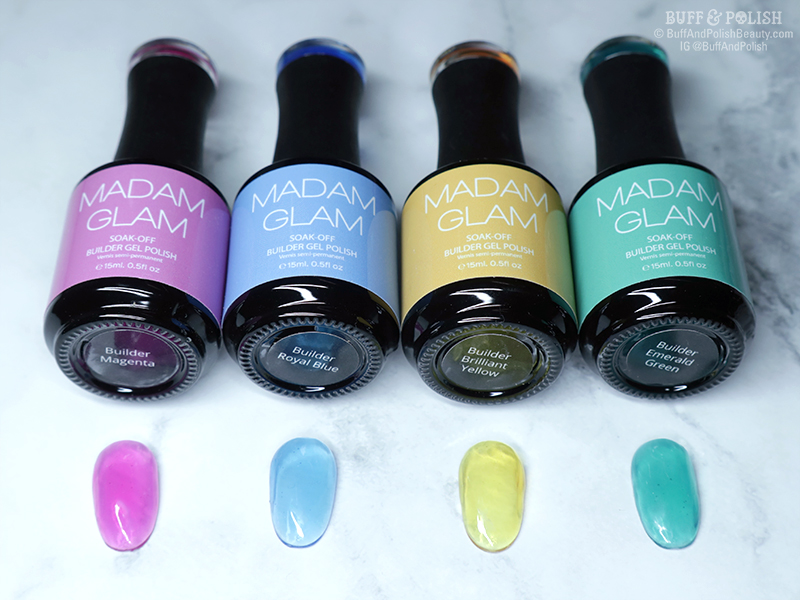 Buff & Polish - Madam Glam First Love Builder Gels - Jelly Swatches