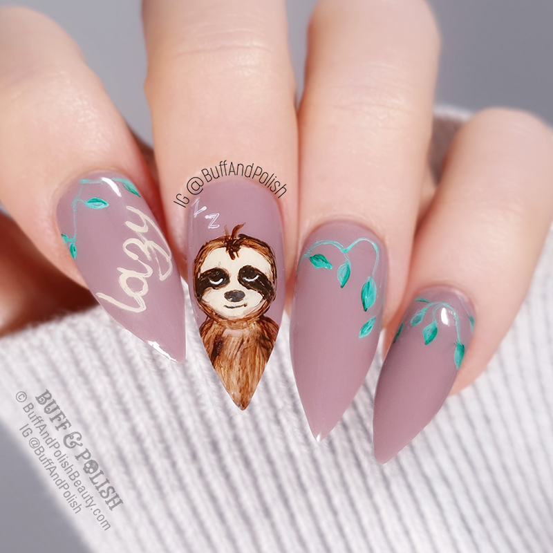 Buff & Polish - Mitty 3mm Brush Freehand Lazy Sloth Nails