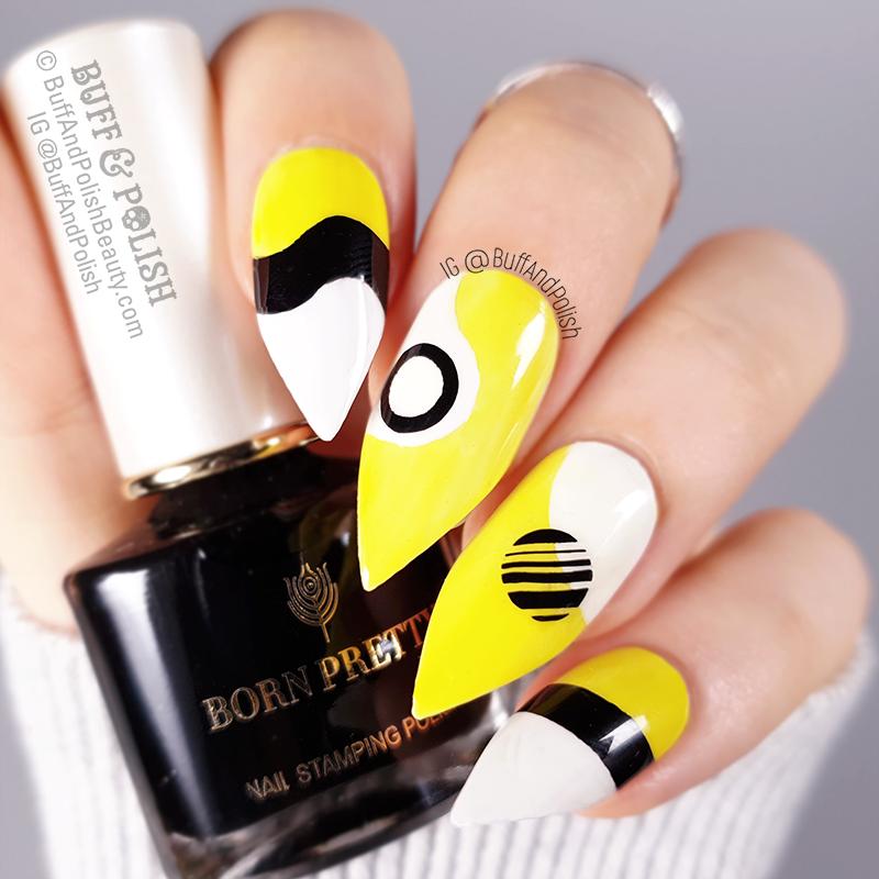 Buff & Polish - Abstract Neon Geometric in Yellow, White, Black