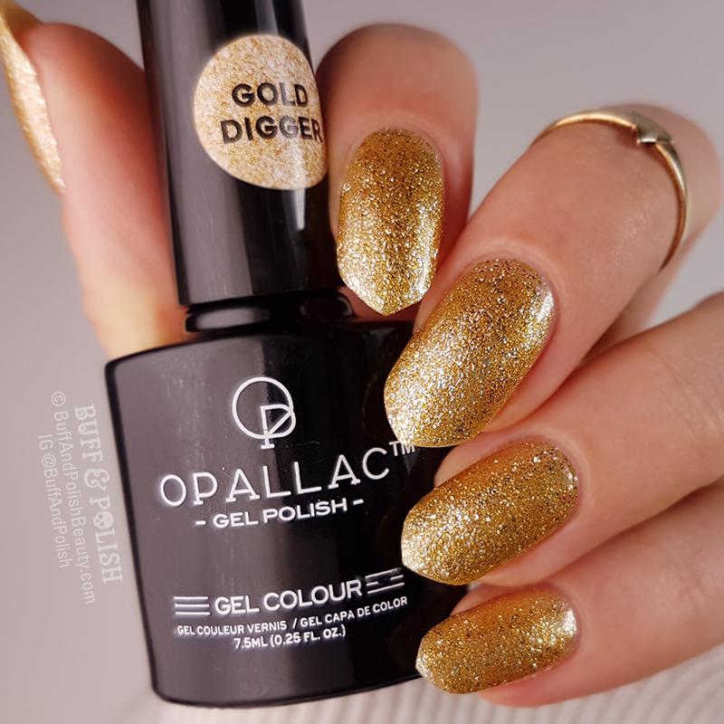 Opallac Gold Digger Glitter Gel Polish swatch, bottle shot
