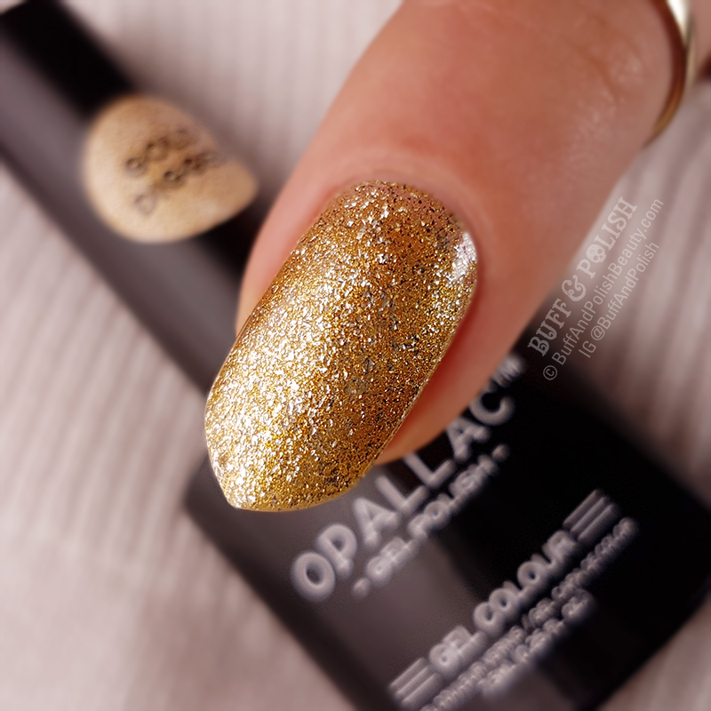 Opallac Gold Digger Glitter Gel Polish swatch macro close up