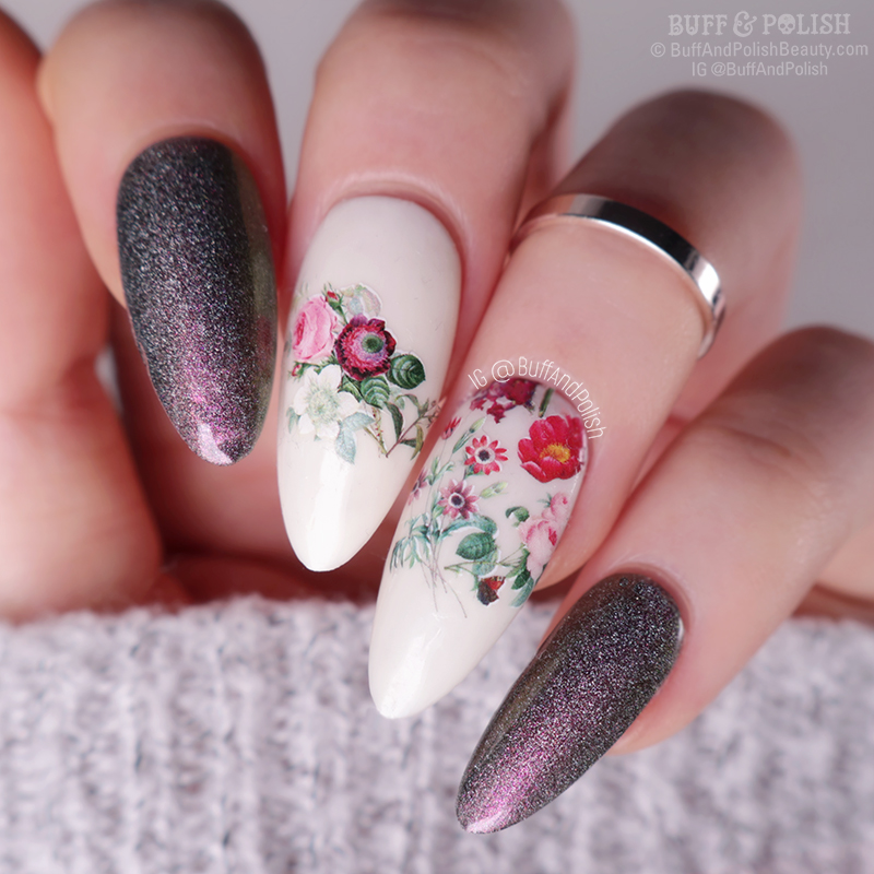 Buff & Polish - Floral Nails with Picture Curable Powder, Flare & Beauty Big Bang Decals