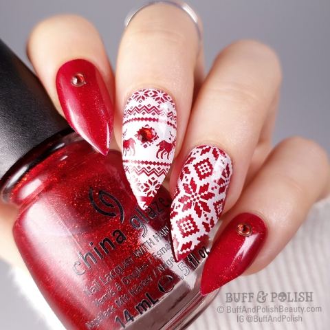 Buff & Polish - Red Ugly Sweater Festive Nails