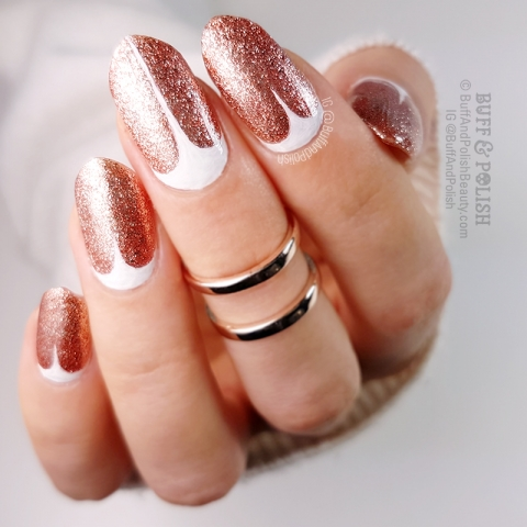 Buff & Polish - Rose Gold Glitter Gel with Freehand Stilettos - more Minimal Nail Art