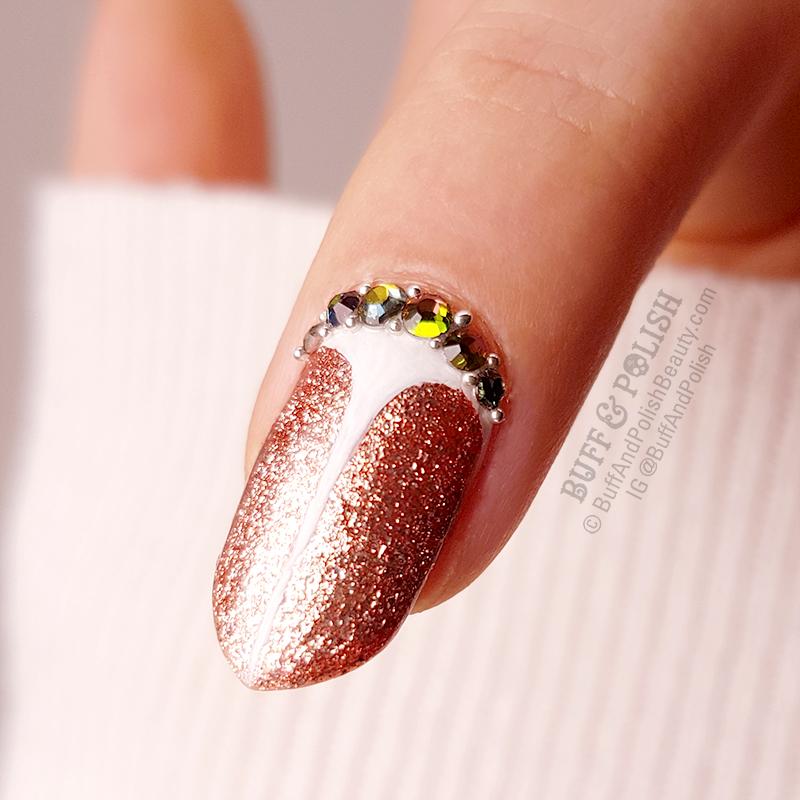 Buff & Polish - Rose Gold Glitter Nails Stilettos