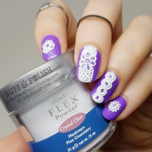 3D Sugared Lace Nails in White on Purple Gel Polish