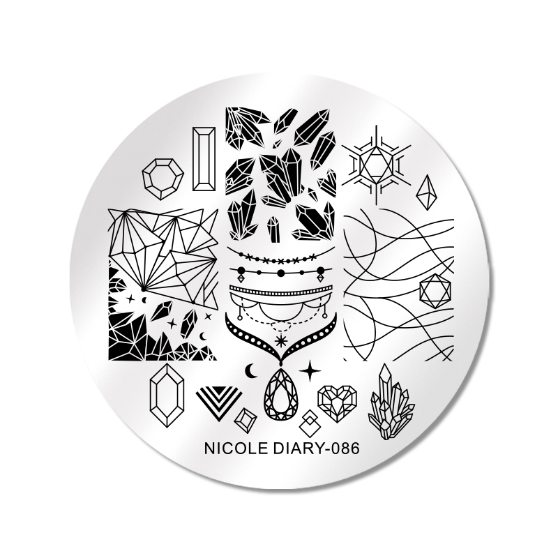 www.bornprettystore.com -NICOLE DIARY Stamping Plates Round Stainless Steel 086